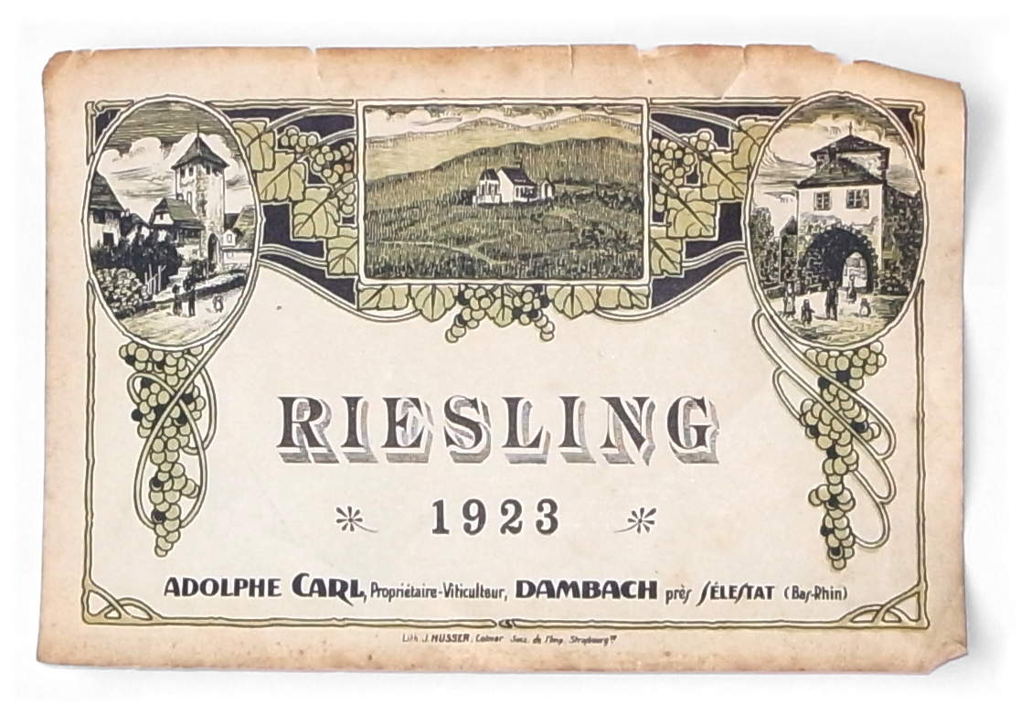 étiquette riesling Adolphe Carl 1923