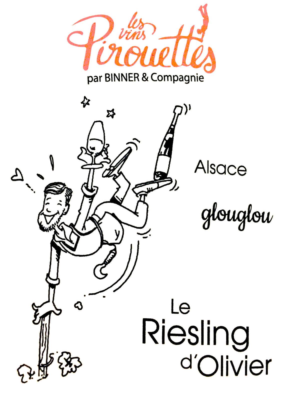 étiquette vins Pirouette Riesling Glouglou